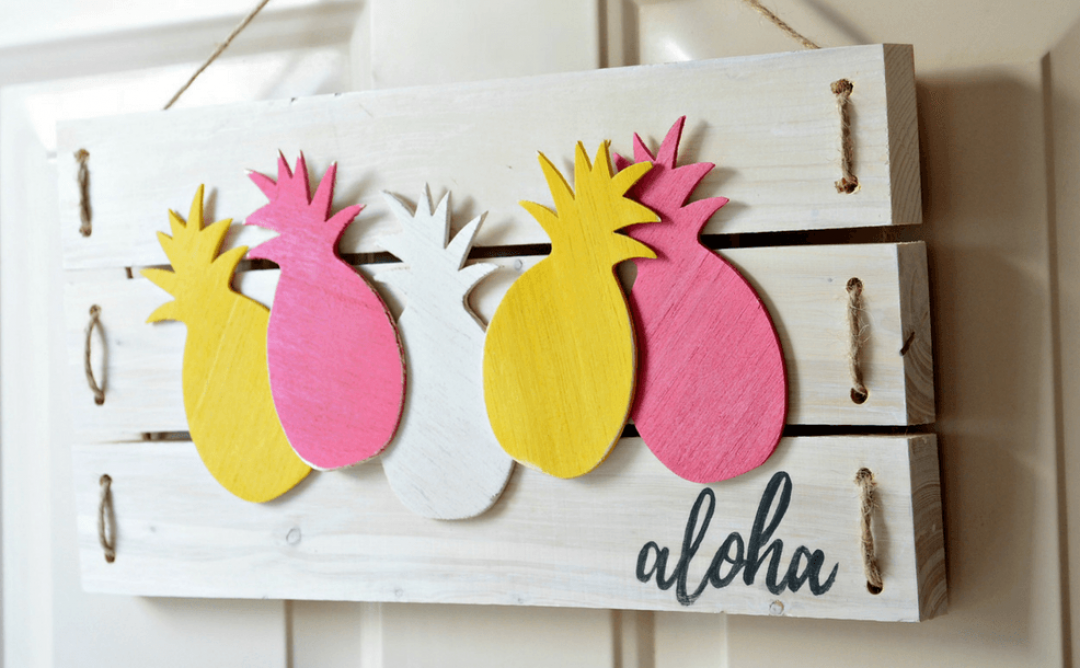 Fun and Easy Aloha Sign with Balsa Wood Pineapples