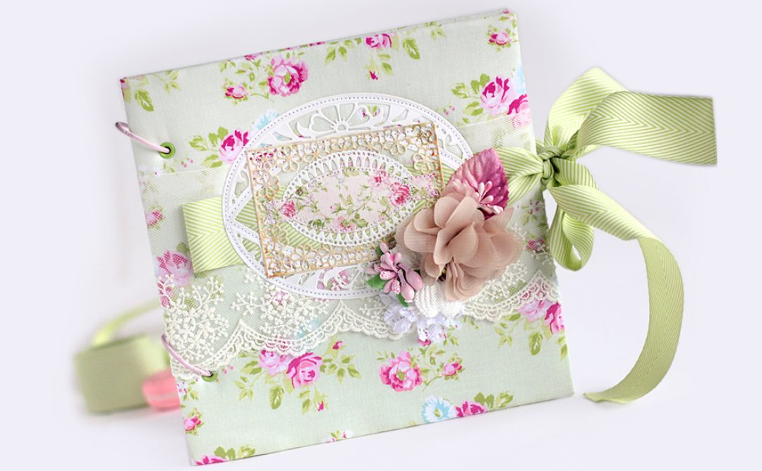 Baby Girl Scrapbook Album Cover with Die-Cutting and Stitching