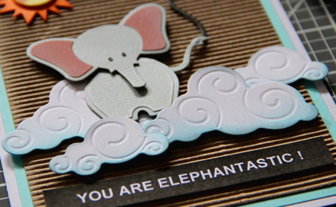 Cute layered Elephantastic card with My Little Red Wagon Collection and Die D-lites