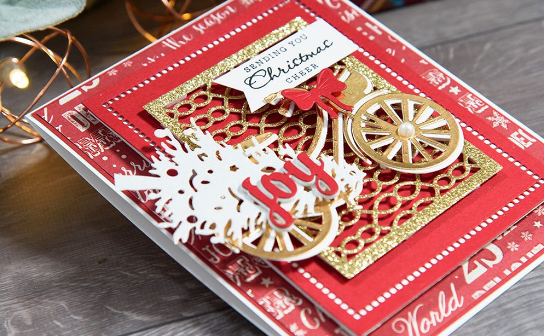 Layered Dimensional Die Cutting. Episode #4 – Christmas Bicycle Card