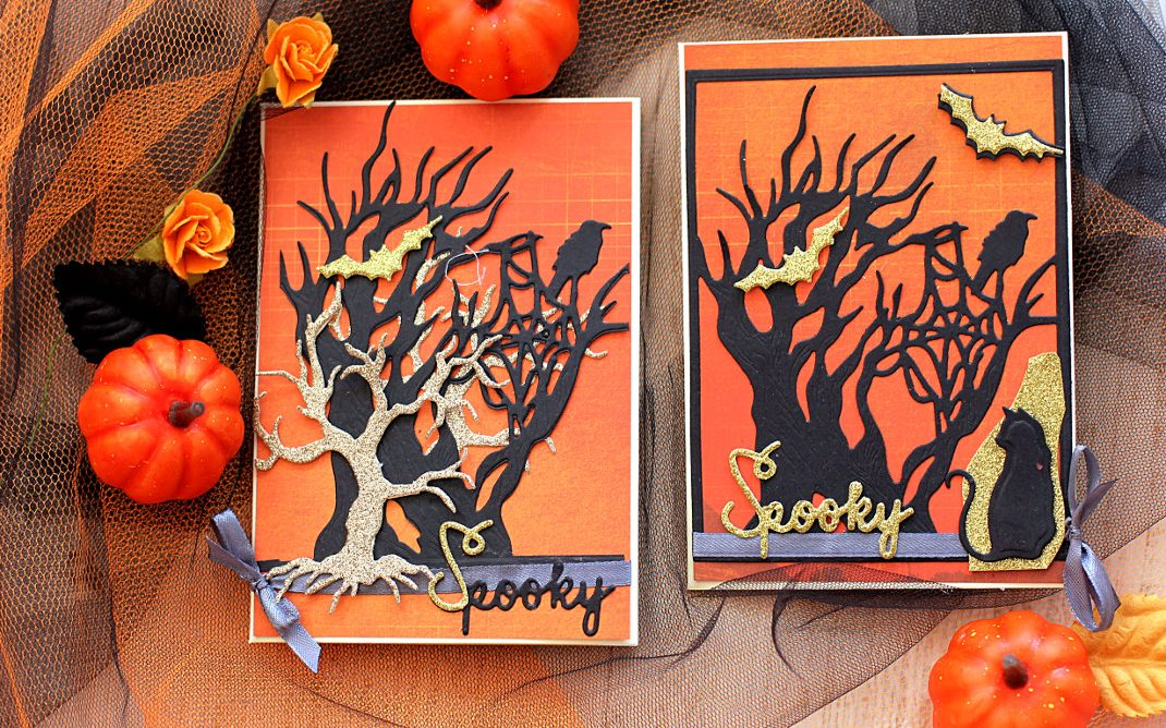 Spooky Halloween Cards by Elena Olinevich for Spellbinders using S2-277 Kitty Cats, S4-837 Tree and Spider Web and S4-835 Spooky Tree dies