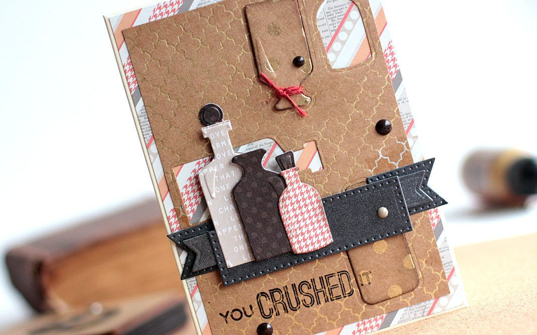 Masculine Cards by Elena Olinevich for Spellbinders using S3-298 Bottles dies