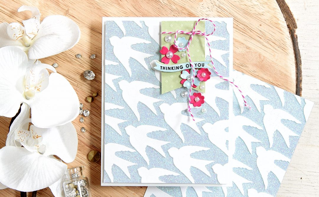 Quick Technique | Thinking of You Card with Spellbinders Swallow And Heart Die S2-261 created by Yana Smakula