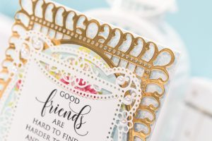 Cardmaking Inspiration   Good Friends Card by Yana Smakula for Spellbinders. Created using S5-328 Talullah Frill Layering Frame Small and S6-129 Bella Rose Lattice Layering Frame Large by Becca Feeken #cardmaking #spellbinders #diecutting