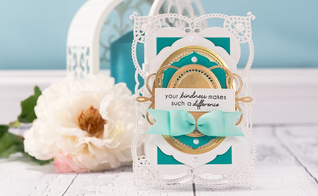 Spellbinders Shaped Cards Video Series. Episode #3 – Your Kindness Makes Such A Difference card by Yana Smakula. Using: S4-820 Vintage Pierced Banners, S4-817 Breanna's Corset Label, S5-332 Hemstitch Ovals, S6-130 Coralene's Chemise Layering Frame Large dies designed by Becca Feeken. #spellbinders #diecutting #cardmaking #handmade