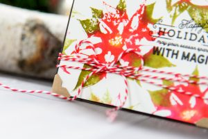 Faux Watercolor Stamping with Poinsettia Holiday 3D Shading Stamp. Video tutorial. Happy Holidays Card by Yana Smakula for Spellbinders #spellbinders #stamping #christmascard #fauxwatercolor
