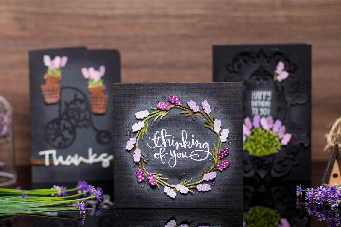 Lavender & Poppies Inspiration with Elena. Take 2: Purple and Black! Handmade cards using S2-283 Lavender Planter, S5-321 Eau De Lavende Label. #spellbinders #handmadecard #diecutting #neverstopmaking #lavendercard