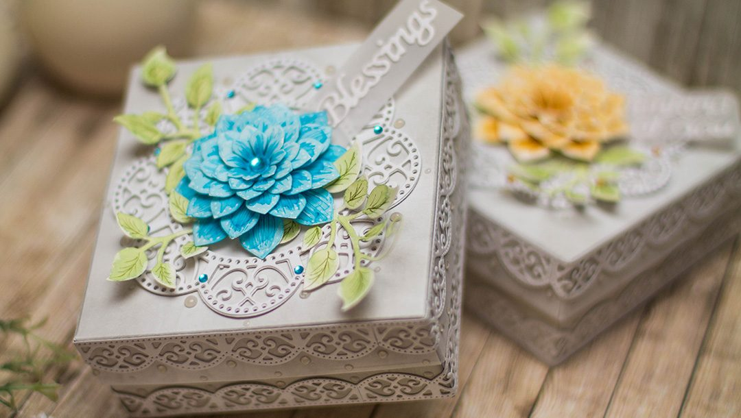 Thoughtful Expression by Marisa Job for Spellbinders - Inspiration | Decorative Boxes with Elena Salo. Using S5-336 Blessings Vine Frame,S4-831 Get Well Soon Scalloped Circle, S6-135 Thinking of You Scalloped Rectangle, S5-335 Succulent & Mum Flowers #spellbinders #neverstopmaking #diecutting #handmade