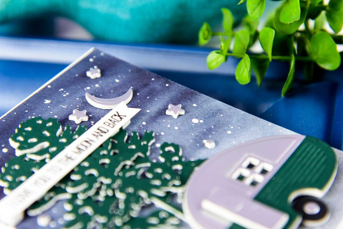 Cardmaking Inspiration | Love You To The Moon & Back card by Yana Smakula for Spellbinders. Using S3-255​ ​Canoeing​​ ​Dies, S3-275 Camping, ​S3-296​ Build​ ​a​ ​Camper​ ​dies. #spellbinders #neverstopmaking #diecutting #handmadecard