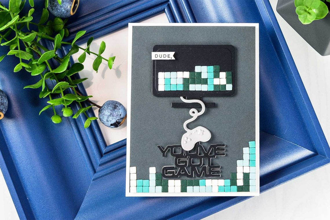 Cardmaking Inspiration | You've Got Game Card by Yana Smakula for Spellbinders. Using: S3-310 You've Got Game, S5-330 Lunette Arched Borders dies. #spellbinders #neverstopmaking #diecutting #handmadecard #gamercard #papercrafting