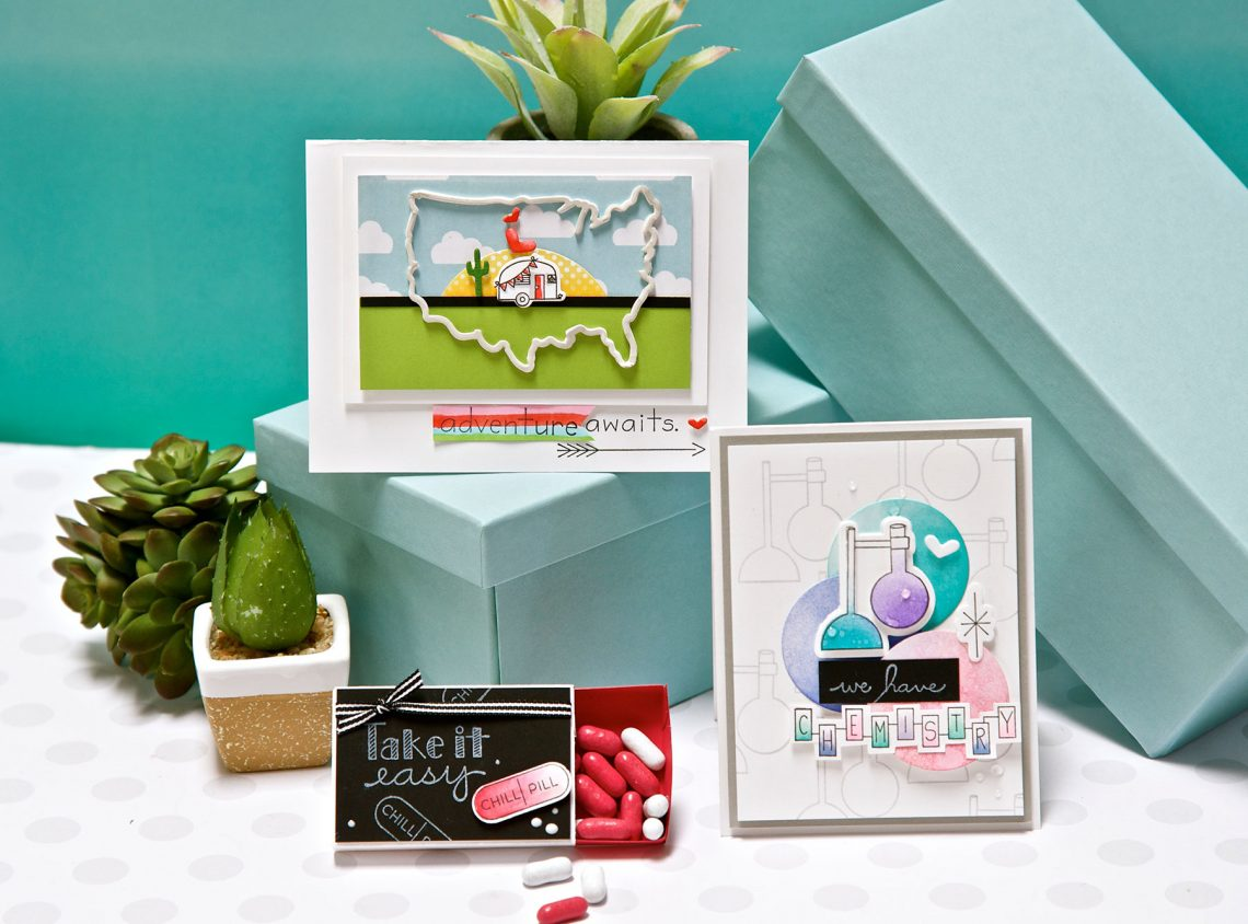 Love, Set, Match and Ready for Creativity by Debi Adams for Spellbinders using S5-326 Match Box, SDS-108 Near or Far, SDS-111 Reaction, SDS-115 Just Chillin' #spellbinders #diecutting #stamping #neverstopmaking