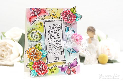Bible Journaling Inspiration | Lord is My Strength with Yoonsun using SBS-144 Lord is My strength SBS-142 Inspiring Others SBS-143 Sing unto God SBS-146 Take Delight SBS-139 Birdhouse Stamps Bible Journaling by Joanne Fink #spellbinders #neverstopmaking #spellbindersstamps #stamping #watercolorcard #handmadecard