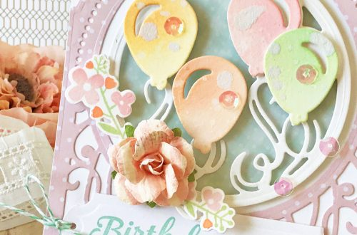 Elegant 3D Vignettes Collection by Becca Feeken - Inspiration | Birthday Card with Melissa for Spellbinders using SDS-116 Oh Happy Day, S6-136 Grand Dome 3D Card, S5-345 Layered Happy Birthday #cardmaking #birthdaycard #handmadecard #diecutting
