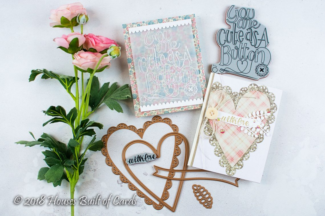 Sew Sweet Collection by Tammy Tutterow - Inspiration   Cute As A Button Cards with Heather for Spellbinders using: SBS-159 Cute as a Button, SBS-162 Sew Tiny, Sentiments, S6-144 Sew Sweet Trims, S6-145 Sew Sweet Valentine #spellbinders #diecutting #handmadecard #cardmaking