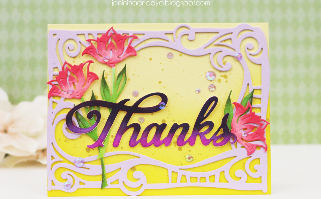 Wings of Love Collection by Joanne Fink - Inspiration | Thank You Card with Joni for Spellbinders using: S4-888 Words, S5-354 Swirl Frame. #spellbinders #diecutting #handmadecard #thankyoucard