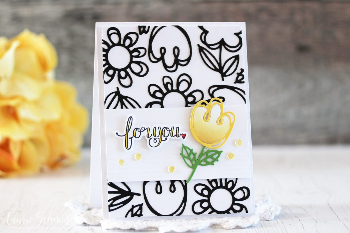Die D-Lites Inspiration | For You Floral Card with Laurie for Spellbinders using S3-322 Sketched Blooms, SDS-107 Sentiments 2 #spellbinders #cardmaking #diecutting #handmadecard