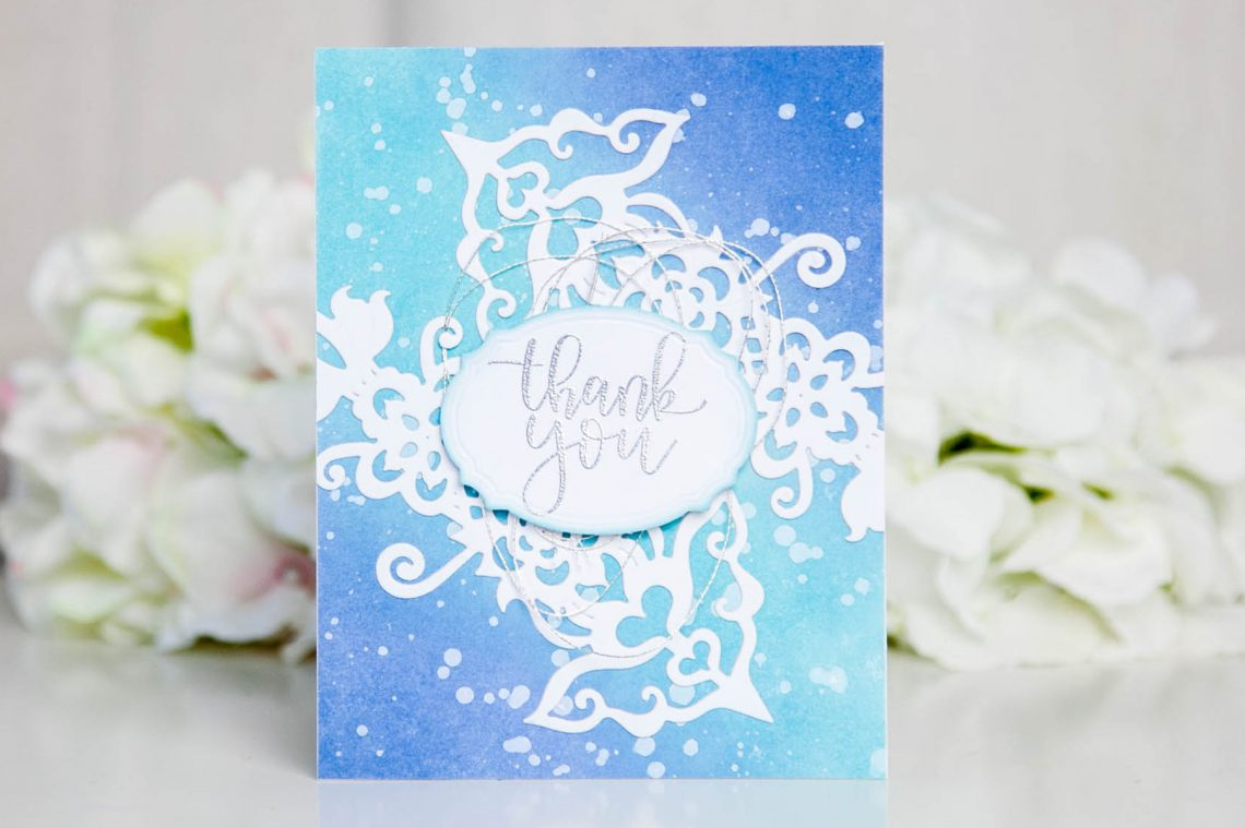 Folk Art Collection Inspiration | Thank You Card with Keeway for Spellbinders using S4-418 Labels Thirty-Six and S4-884 Rosemal Flowers dies #cardmaking #diecutting #handmadecard #folkart #spellbinders