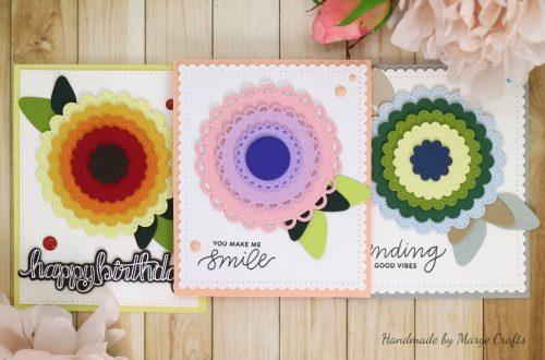 Classics March Collection Inspiration | More Simple Card Ideas with Marge for Spellbinders using: S4-902 Scored and Pierced Circles, S4-903 Fancy Edged Circles, S4-904 Scored and Pierced Rectangles, S4-905 Fancy Edged Rectangles, S4-907 Fancy Edged Ovals, S4-910 Open Scallop Edge Circles, S4-911 Fancy Scallop Edge Circles, S5-317 Textured Flowers, SBS-085 Thinking of You, SDS-106 Sentiments 1 #cardmaking #diecutting #handmadecard #spellbinders
