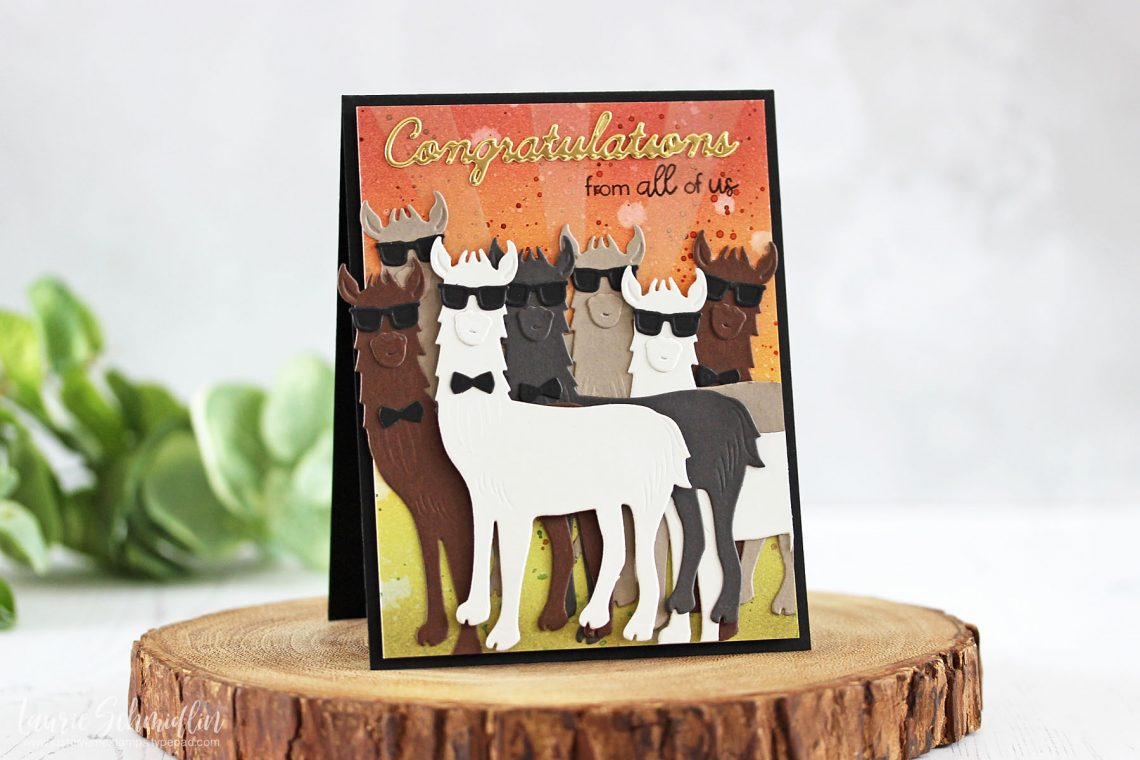 Die D-Lites Inspiration | Hip Llama Card with Laurie for Spellbinders using S3-319 Hip Llama, S4-563 Phrase Set One dies #cardmaking #diecutting #handmadecard #spellbinders