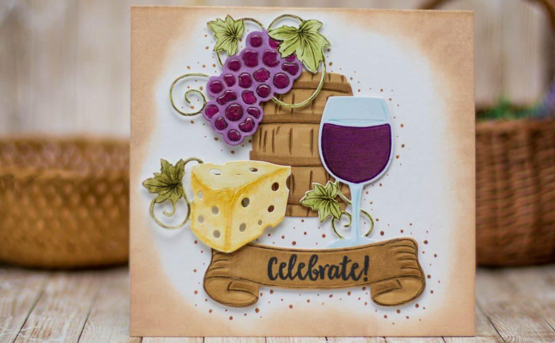 Cardmaking Inspiration | Wine Country Celebrate Card by Elena Salo for Spellbinders using SDS-133 Vineyard Wine Bottle Tag, SDS-135 Barrel of Sentiments, S5-347 Wine Charms #spellbinders #diecutting #winecountry #neverstomaking #handmadecard