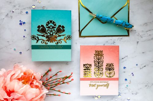 Folk Art Collection by Lene Lok - Inspiration | Simple Gold Foil Cards by Emily Midgett for Spellbinders using S4-882 Nordic Floral, S4-897 Floral Bouquet dies #spellbinders #neverstopmaking #diecutting #handmadecard
