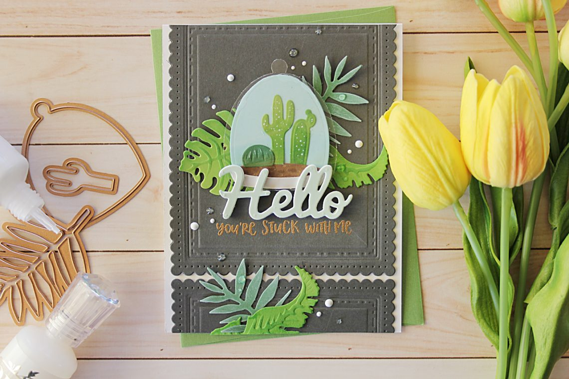 Video Friday | Inked Terrarium Hello Card with Nichol for Spellbinders using: S3-315 Build A Terrarium, S4-564 Phrase Set Two, S4-676 Tropics, S4-905 Fancy Edged Rectangles #diecutting #spellbinders #neverstopmaking #handmadecard