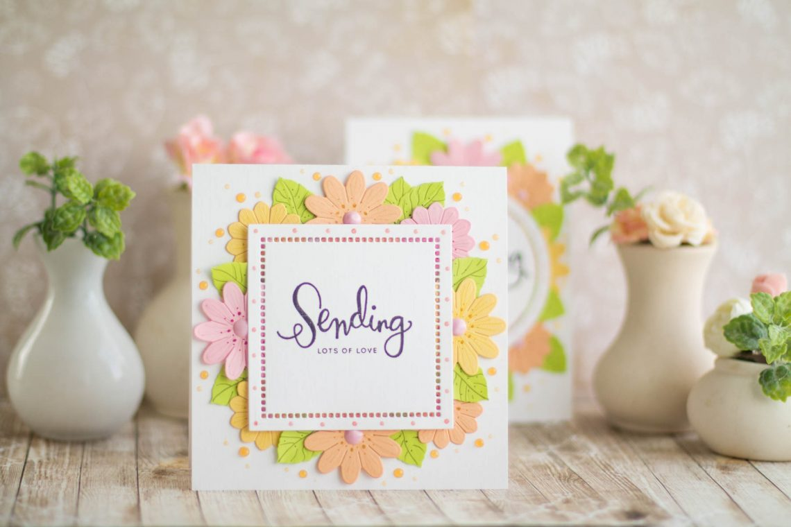 Romancing The Swirl Collection by Becca Feeken - Inspiration | Floral Cards by Elena Salo for Spellbinders. Spellbinders Supplies: S4-928 Hemstitch Circles, S4-929 Hemstitch Squares, S5-364 A2 Corner Cotillion, PE-100 Platinum™ 6 Die Cutting And Embossing Machine, T-001 Tool 'N One #spellbinders #neverstopmaking #diecutting #handmadecard #amazingpapergrace