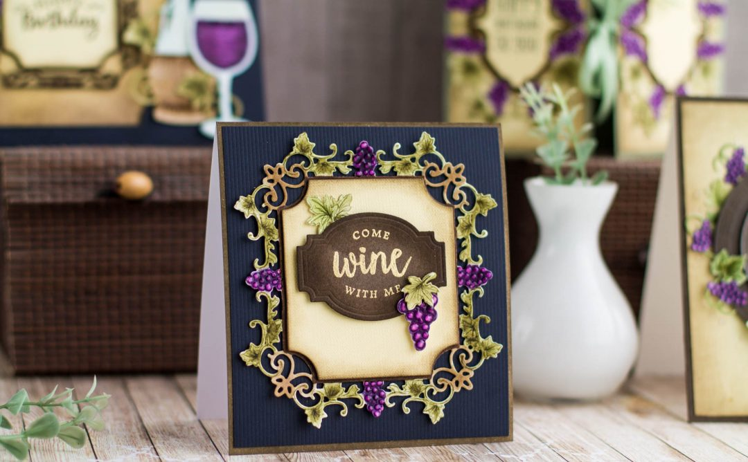 Cardmaking Inspiration | Come Wine With Me by Elena Salo for Spellbinders. S4-879 Labels 59, S4-880 Labels 59 Decorative Accents, S4-878 Frame Charms, SDS-135 Barrel of Sentiments. #diecutting #winecountry #spellbinders #handmadecard #neverstopmaking #winecard