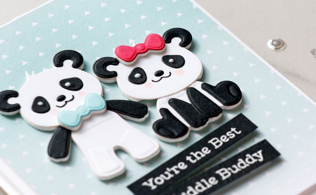 Cardmaking Inspiration | You're The Best Cuddle Buddy Card Featuring Build A Panda by Yana Smakula for Spellbinders. S3-318 Build A Panda #spellbinders #diecutting #handmadecard #neverstopmaking