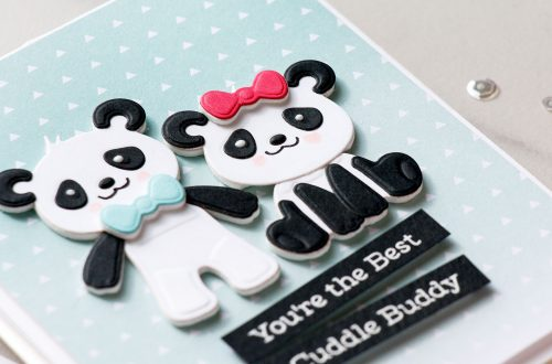 Cardmaking Inspiration   You're The Best Cuddle Buddy Card Featuring Build A Panda by Yana Smakula for Spellbinders. S3-318 Build A Panda #spellbinders #diecutting #handmadecard #neverstopmaking