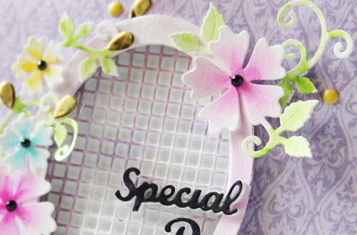 Special Moments Collection by Marisa Job - Inspiration   Special Day Card by Hussena for Spellbinders. Featuring: S5-374 Special Day Frame, S5-378 Floral Oval, S7-215 Vintage Stitched Squares dies. #spellbinders #neverstopmaking #diecutting #handmadecard
