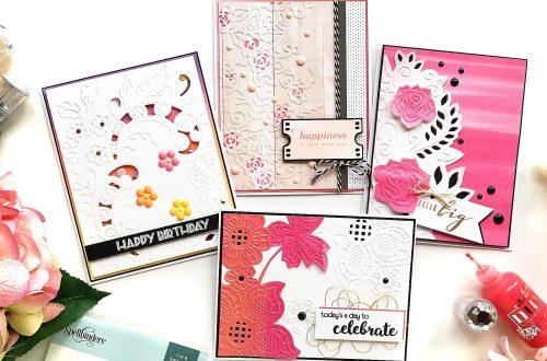 Cut & Emboss Folders Inspiration   Everyday Cards With Enza for Spellbinders using CEF-005 Floret Cluster, CEF-002 Flower Garden, CEF-004 Baroque Filigree, CEF-003 Rose Flourish #spellbinders #embossing #cardmaking #neverstopmaking