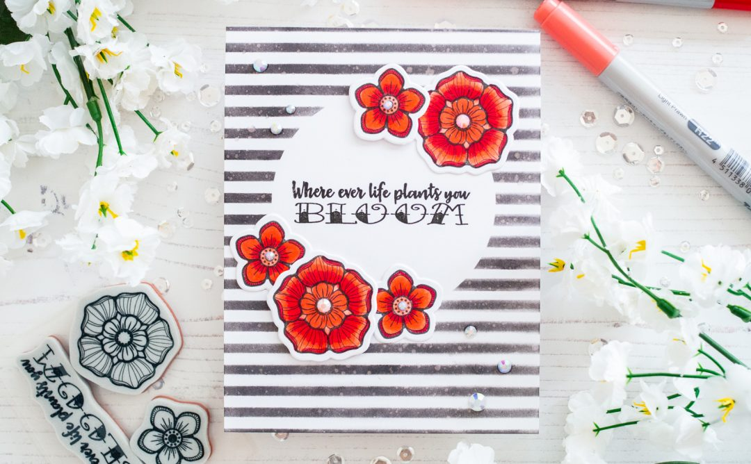 Spellbinders Inked Messages Collection by Stephanie Low - Inspiration | Bloom Card with Gemma featuring SDS-142 Bloom Where You Are Planted #spellbinders #stamping #neverstopmaking