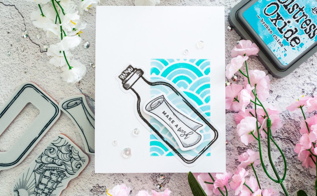 Spellbinders Inked Messages Collection by Stephanie Low - Inspiration   Message in a Bottle Card with Gemma featuring SDS-145 Message In A Bottle #spellbinders #neverstopmaking #cardmaking