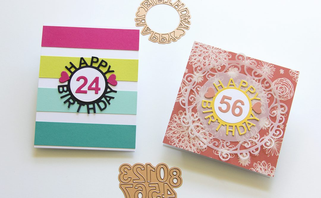 Spellbinders Special Moments Collection by Marisa Job - Inspiration | Die-Cut Happy Birthday Times Two with Jean featuring S4-943 Happy Birthday w/ Numbers, S5-376 Miss You Swirl #spellbinders #neverstopmaking #diecutting #handmadecard