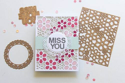 Spellbinders Special Moments Collection by Marisa Job - Inspiration | Flower Background - Inlaid Technique with Jean featuring S5 375 Flower Background, S5-376 Miss You Swirl, S5-374 Special Day Frame #spellbinders #neverstopmaking #diecutting #handmadecard
