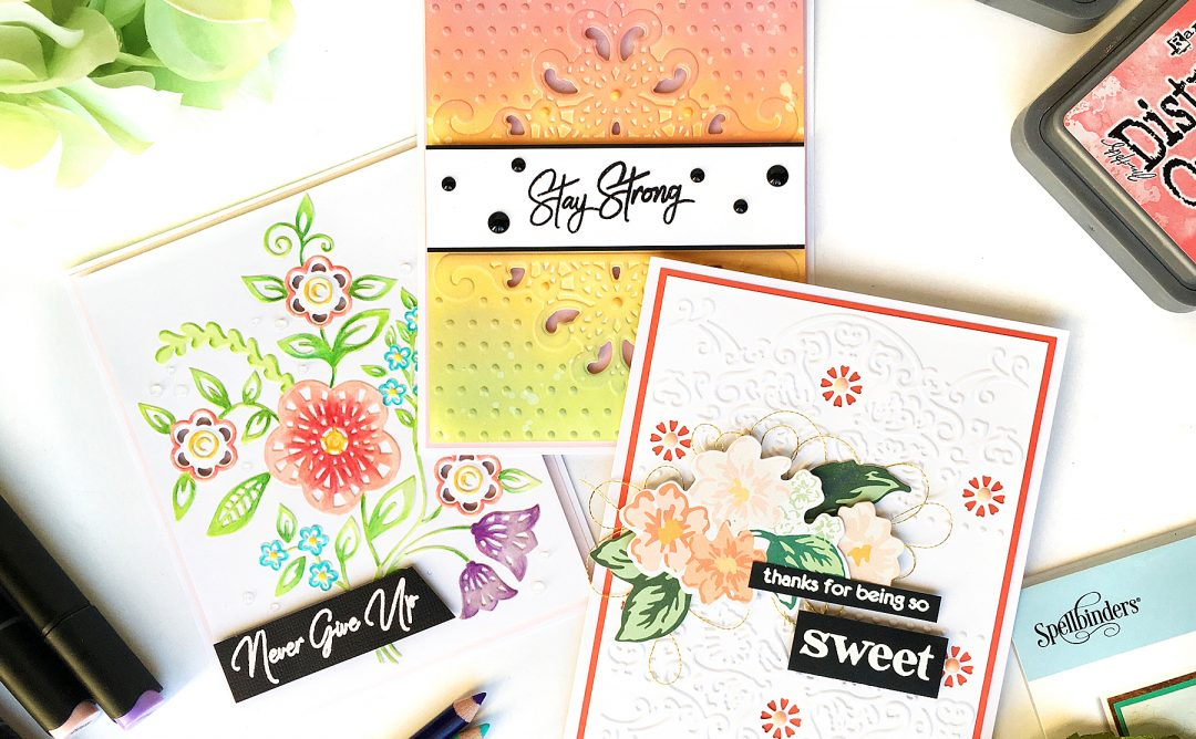 Spellbinders - Cut & Emboss Folders Inspiration | Everyday Cards With Enza featuring CEF-006 Blooming Sprigs,CEF-007 Dotted Lace, CEF-009 Banner Flora #cardmaking #embossing #handmadecard