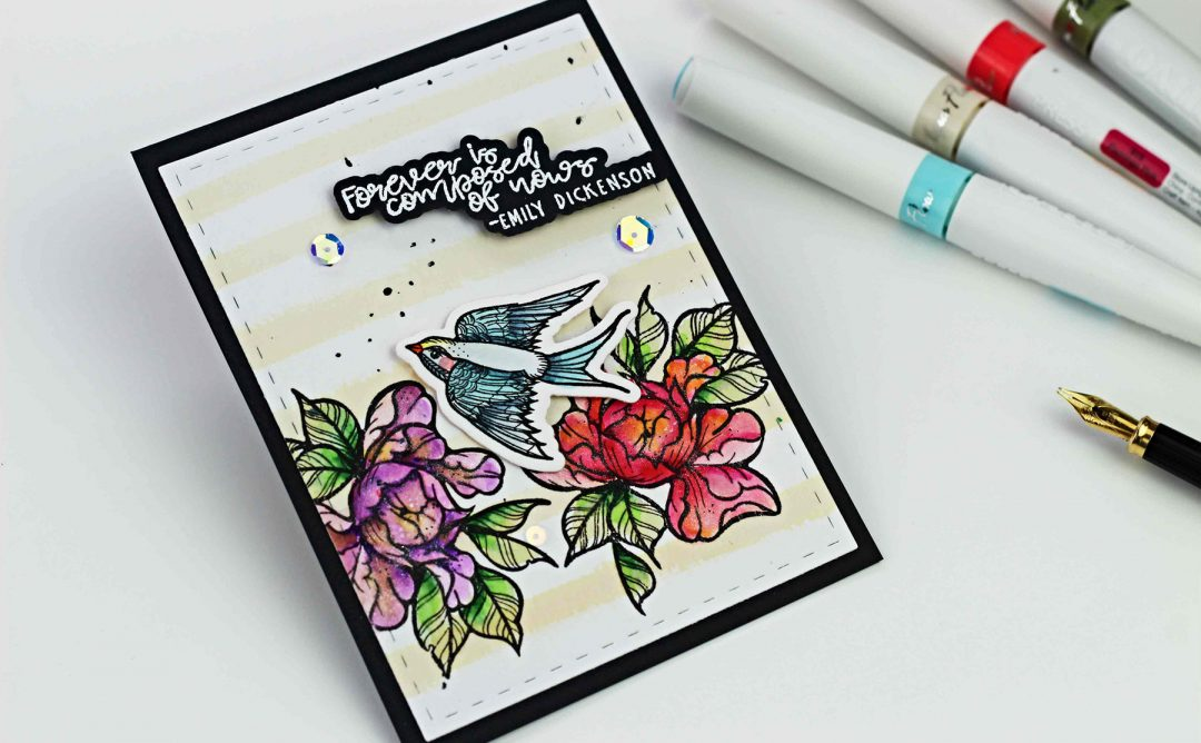 Spellbinders - Inked Messages Collection by Stephanie Low - Inspiration   Floral Card with Bibi Cameron featuring SDS-138 Grow Newer With Me, SDS-144 A Little Birdie Told Me #spellbinders #cardmaking #stamping #diecutting #handmadecard #stephanielow