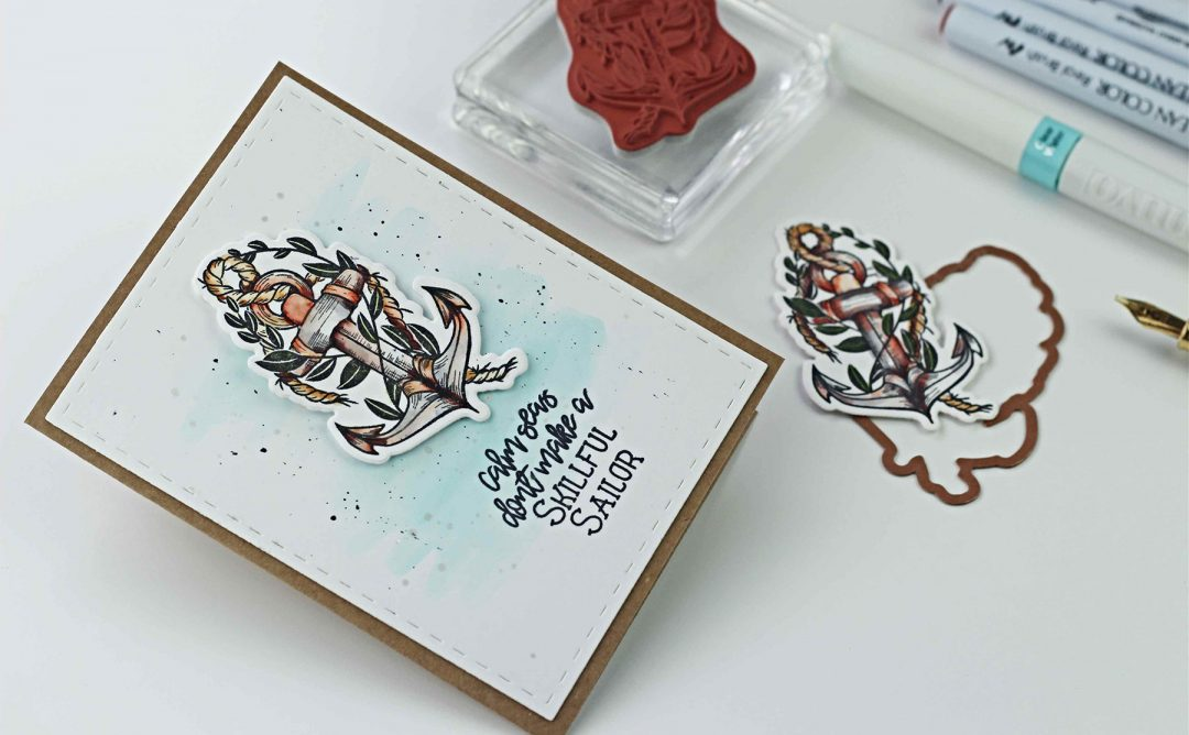 Spellbinders Inked Messages Collection by Stephanie Low - Inspiration   Skillful Sailor Cards with Bibi Cameron featuring SDS-136 Rough Waters #spellbinders #stamping #patternstamping #cardmaking #handmadecard #neverstopmaking