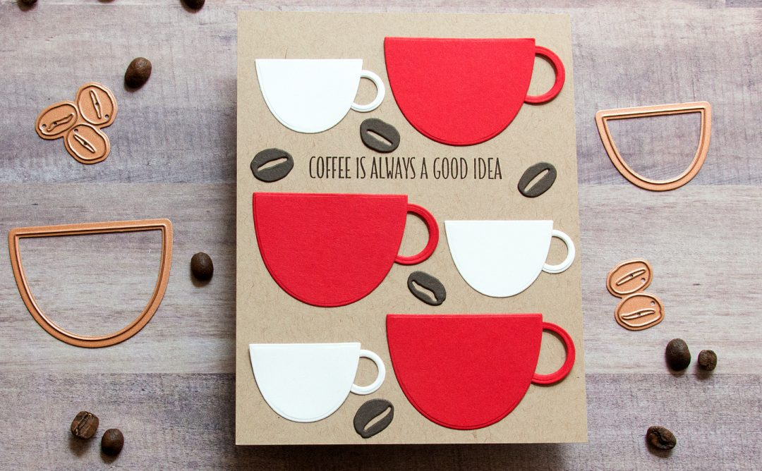 Spellbinders Cuppa Coffee, Cuppa Tea Collection by Sharyn Sowell - Inspiration | Better with Coffee Card with Jean Manis featuring S3-346 Cup and Beans #spellbinders #neverstopmaking #diecutting #sharynsowell #handmadecard