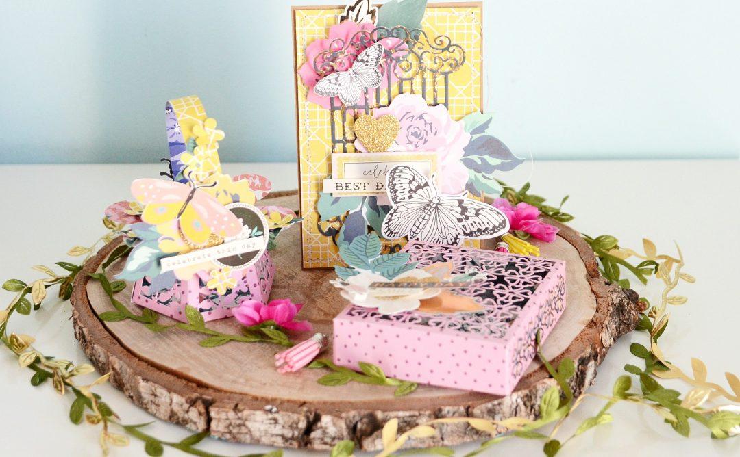 Spellbinders Blooming Garden Collection by Marisa Job | Romantic Gift Set with Anna featuring S6-146 Heart Flower Box, S6-147 Swirl Hexagon Petal Box, S4-917 Swirl Lattice Panel #spellbinders #neverstopmaking #diecutting #handmade #papercrafting