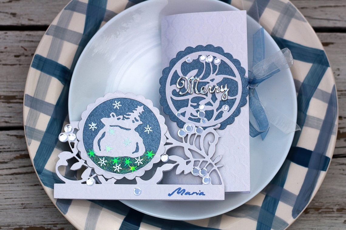 Video Friday | Blue and White Christmas with Olga for Spellbinders featuring S4-938 Mistletoe Gatefold S3-344 Mistletoe Doily S4-941 From Our Home to Yours #spellbinders #neverstopmaking #diecutting #sharynsowell