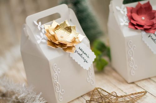 Spellbinders A Charming Christmas Collection by Becca Feeken - Inspiration | Vellum Boxes For Christmas Gifts with Elena Salo featuring S4-960 Cinch and Go Poinsettia, S6-153 Charming Cottage Box #spellbinders #neverstopmaking #amazingpapergrace