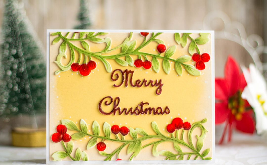 A Sweet Christmas Inspiration | Die Cut & Colored Christmas Card with Elena Salo