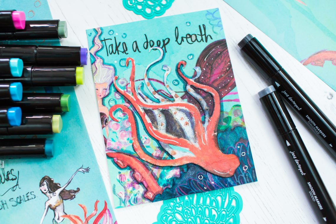 Jane Davenport Artomology | Take a Deep Breath Mixed Media Card with Mona Toth featuring JD-014 Mermaid Washi Sheets and JD-025 Smooth Markers - Mermesmerizing #janedavenport #janedavenportartomology #Artomology #spellbinders #neverstopmaking #smoothmarkers #makeitwithmichaels #washisheets