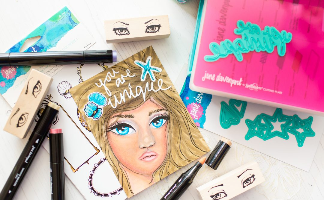 Spellbinders Jane Davenport Artomology   You are Unique Mixed Media Card with Mona Toth #janedavenport #janedavenportartomology #Artomology #spellbinders #neverstopmaking #smoothmarkers #makeitwithmichaels #washisheets