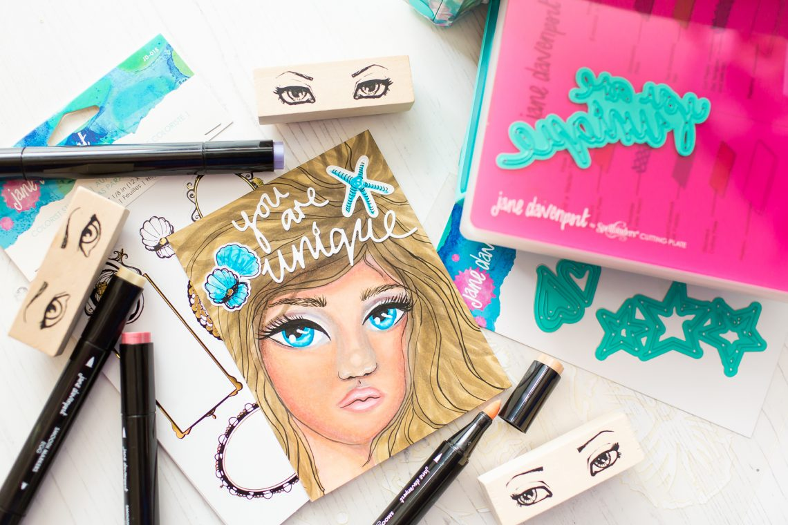 Spellbinders Jane Davenport Artomology | You are Unique Mixed Media Card with Mona Toth #janedavenport #janedavenportartomology #Artomology #spellbinders #neverstopmaking #smoothmarkers #makeitwithmichaels #washisheets