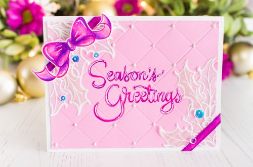 Spellbinders Zenspired Holidays Collection by Joanne Fink Inspiration | Season's Greeting with Mona Toth featuring SBS-165 Christmas Sentiments, SDS-162 Christmas Candy Canes, SDS-160 Holly Bells #spellbinders #neverstopmaking