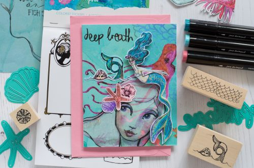 Spellbinders Jane Davenport Artomology | Deep Breath Mixed Media Card with Flóra Mónika Farkas #janedavenport #janedavenportartomology #Artomology #spellbinders #neverstopmaking #smoothmarkers #makeitwithmichaels #washisheets