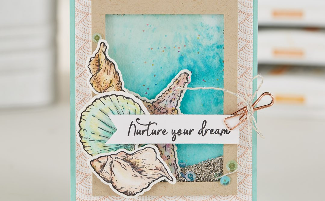 Make a Summer Shaker Card with Watercolor Seashells
